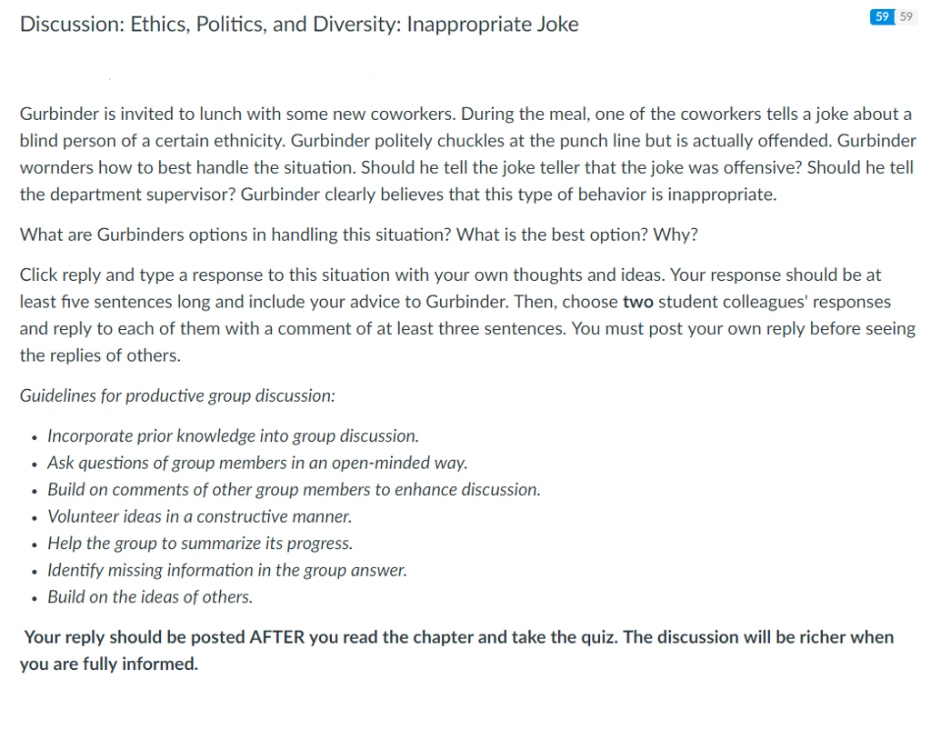 discussion ethics politics and diversity inappropriate joke 59 59 gurbinder is invited