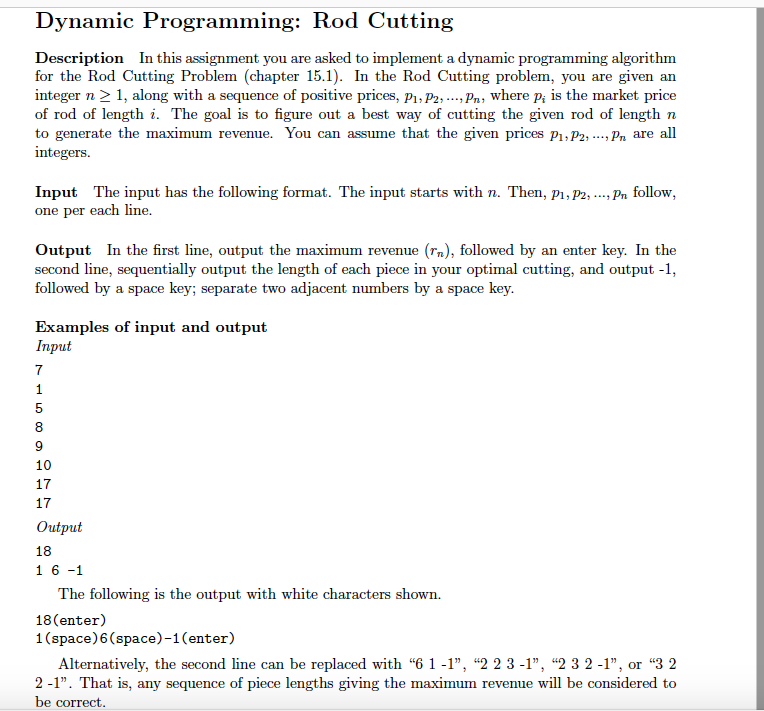 Solved Dynamic Programming Rod Cutting Description In Th