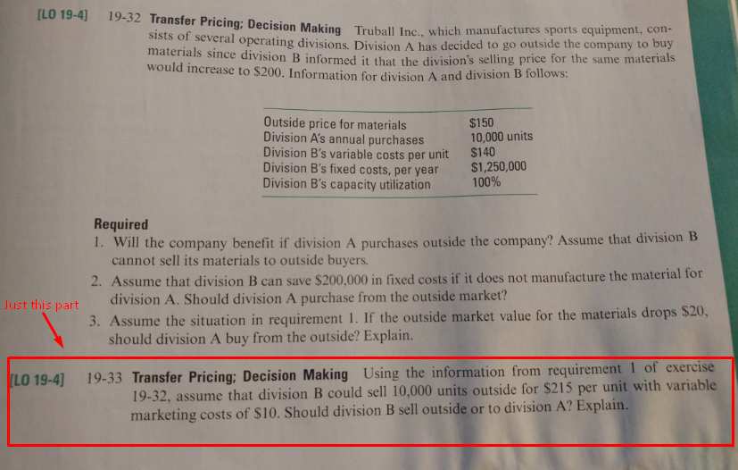 Solved: ILO 19-4] 19-32 Transfer Pricing: Decision Making