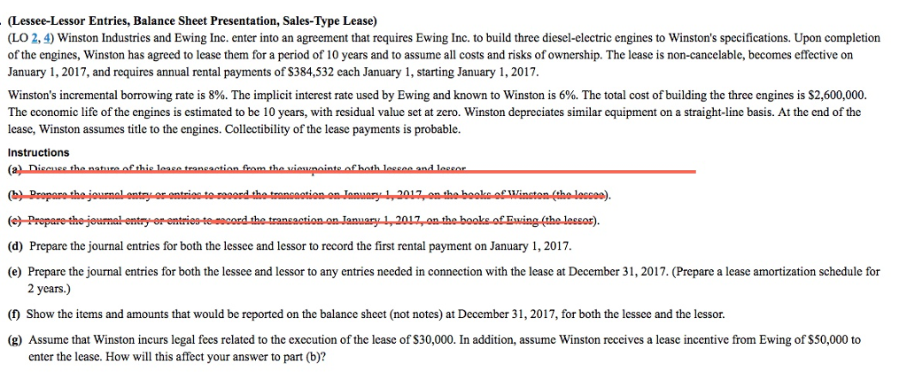 Solved Lessee Lessor Entries Balance Sheet Presentation