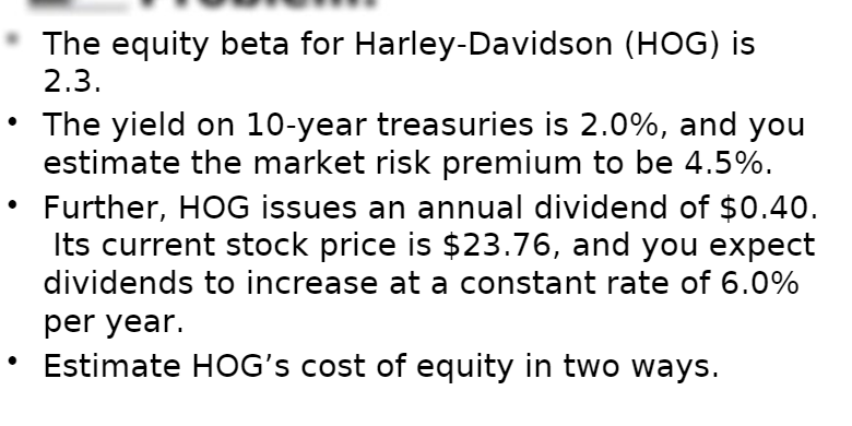 Solved The Equity Beta For Harley Davidson Hog Is 2 3 T