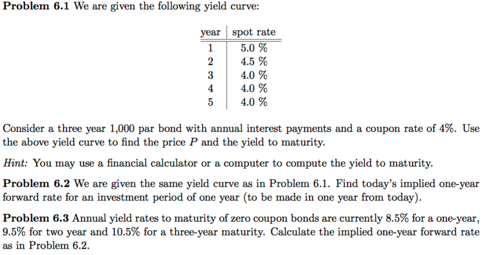 Solved Problem 6 1 We Are Given The Following Yield Curve Chegg Com