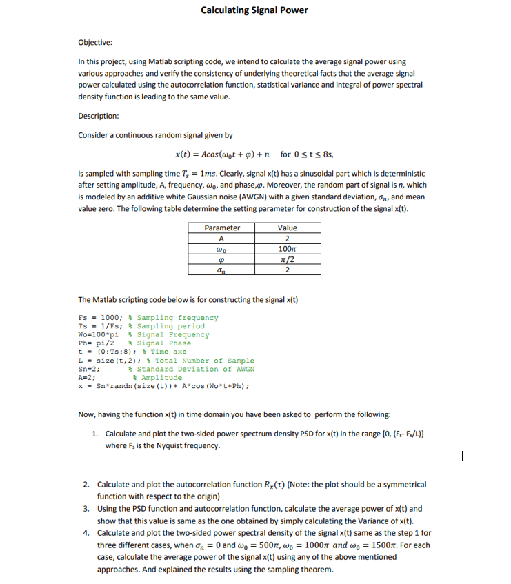 Solved: Objective: In This Project, Using Matlab Scripting