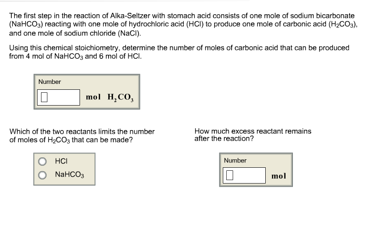 a lab report mass of sodium bicarbonate in alka seltzer tablets when subjected to acetic acid Alka seltzer consists of sodium bicarbonate and citric acid when alka seltzer tablets are placed into water the mixture is formed sodium citrate carbon dioxide and.