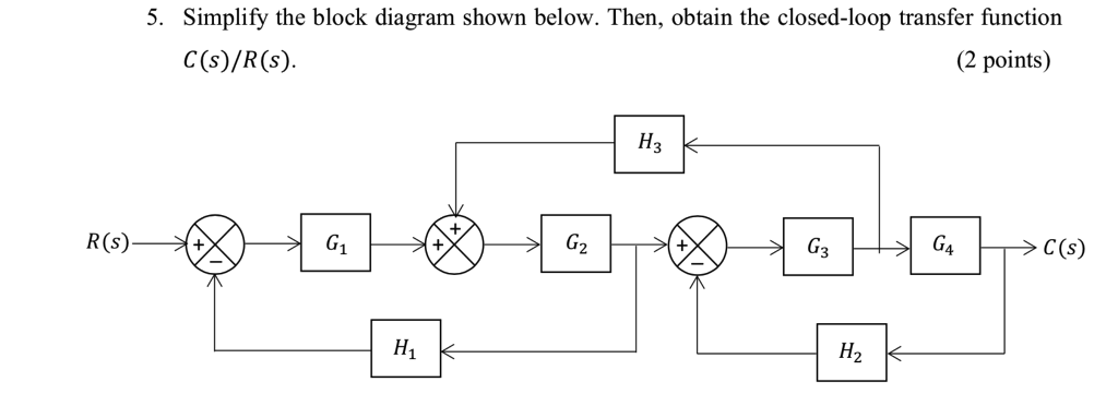 Solved  5  Simplify The Block Diagram Shown Below  Then  O