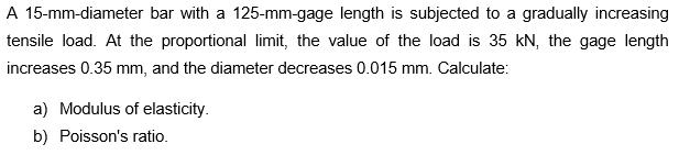 A 15-mm-diameter Bar With A 125-mm-gage Length Is ... | Chegg.com