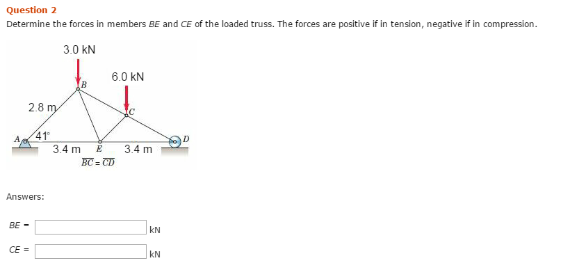 Solved Determine The Forces In Members Be And Ce Of The L