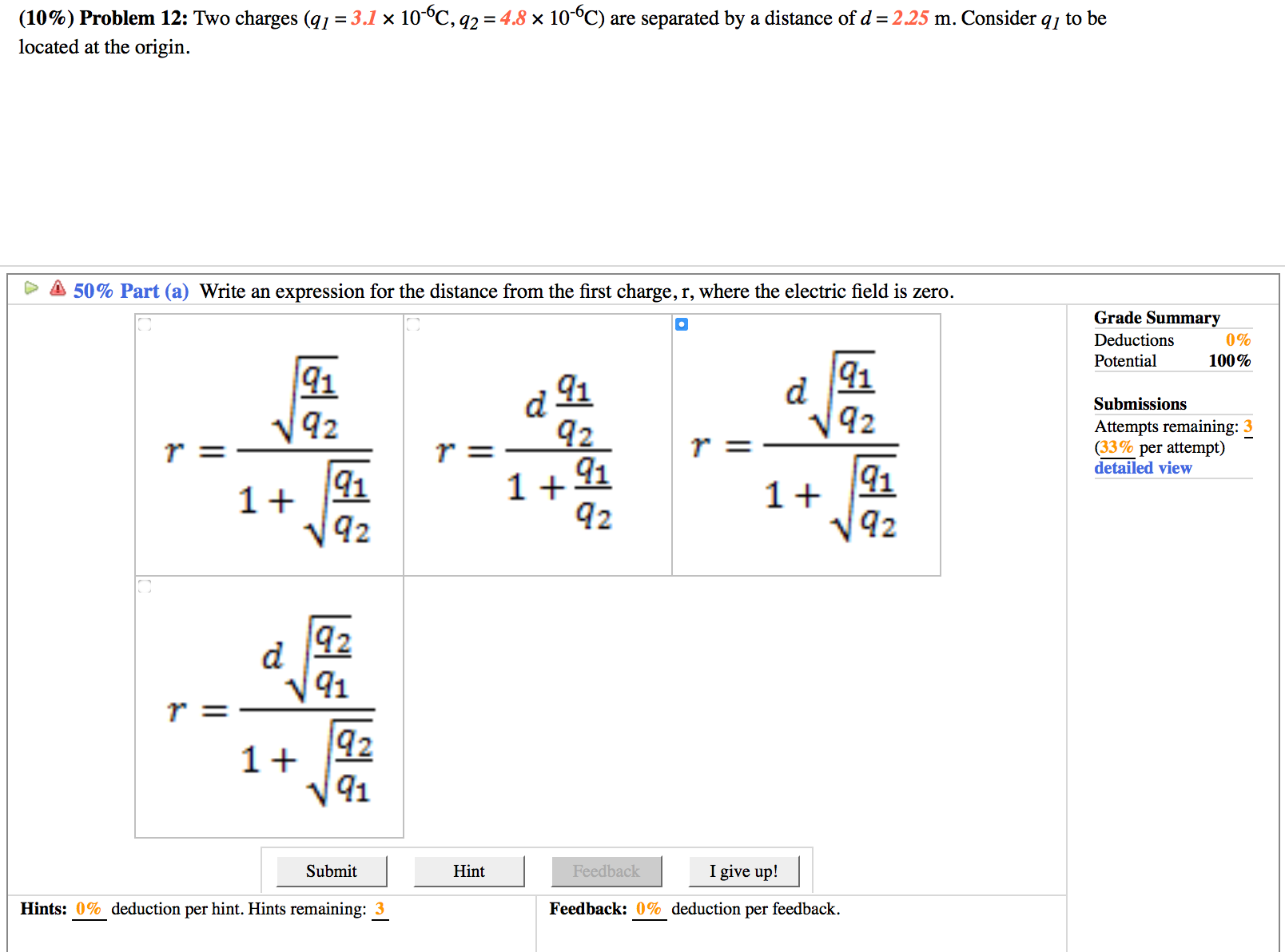 Solved: Two Charges (q_1 = 3.1 Times 10^-6C, Q_2 = 4.8 Tim ...