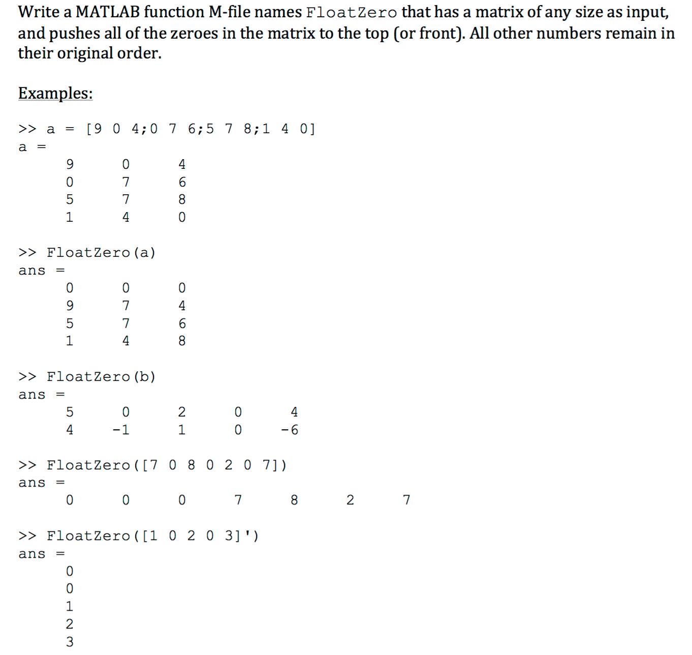 write a matlab function m file s float zero th com question write a matlab function m file s float zero th