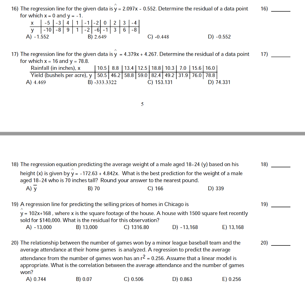Solved: 16) The Regression Line For The Given Data Is Y 2 ...