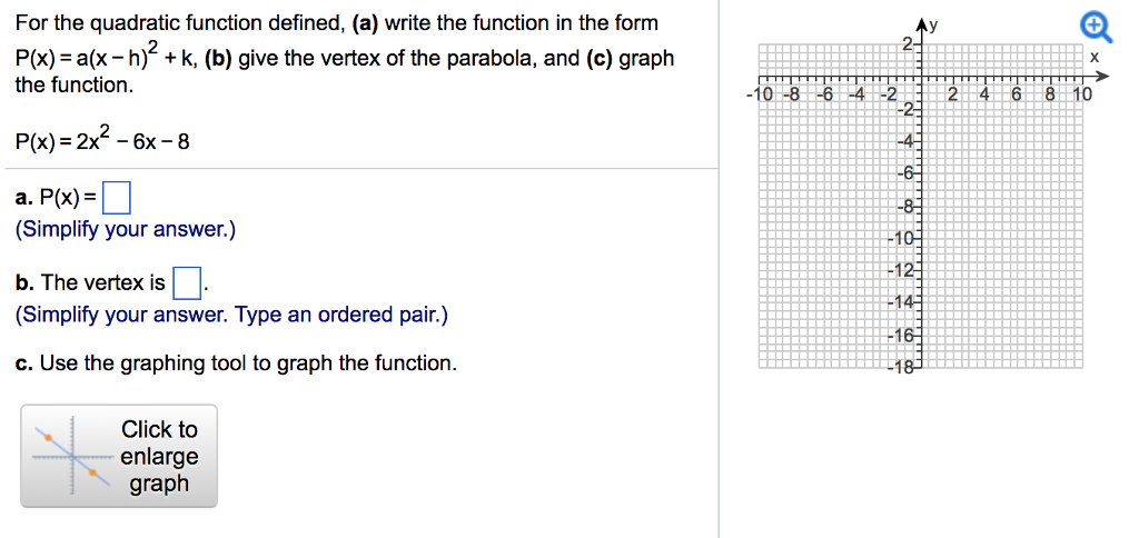 Solved For The Quadratic Function Defined A Write The