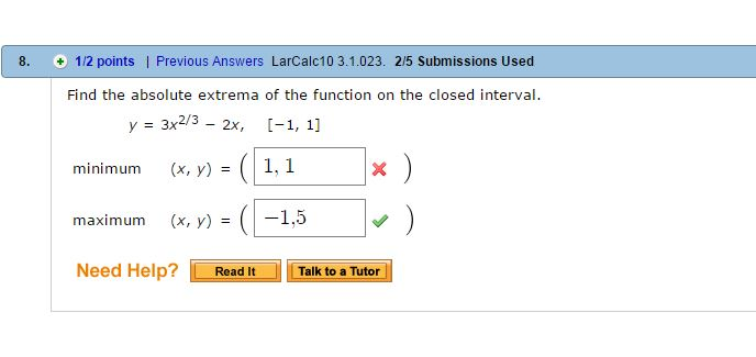 how to find absolute minimum of function