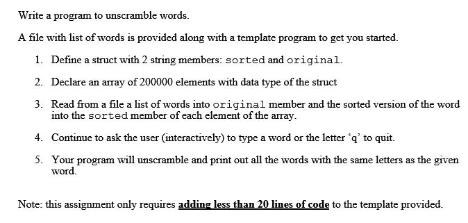 Unscramble Program The Language I m Using Is C