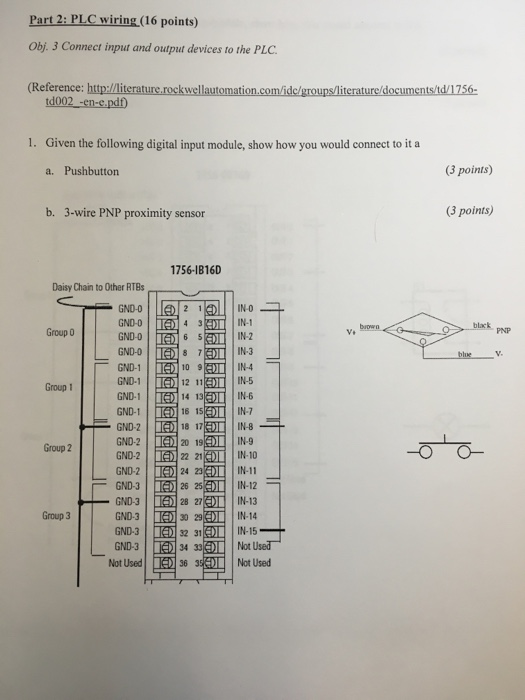 Solved: Part 2: PLC Wiring (16 Points) Obj. 3 Connect Inpu ...