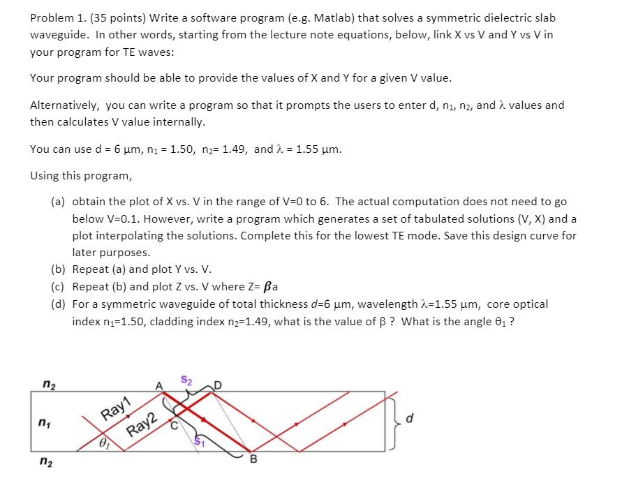 write a software program e g matlab that solves chegg com rh chegg com Rib Waveguide Homemade Waveguide Microwave