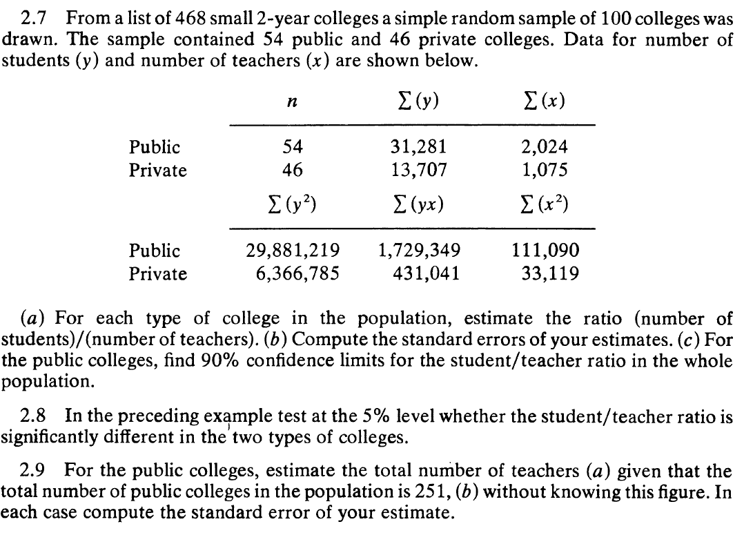Solved From A List Of 468 Small 2 Year Colleges A Simple