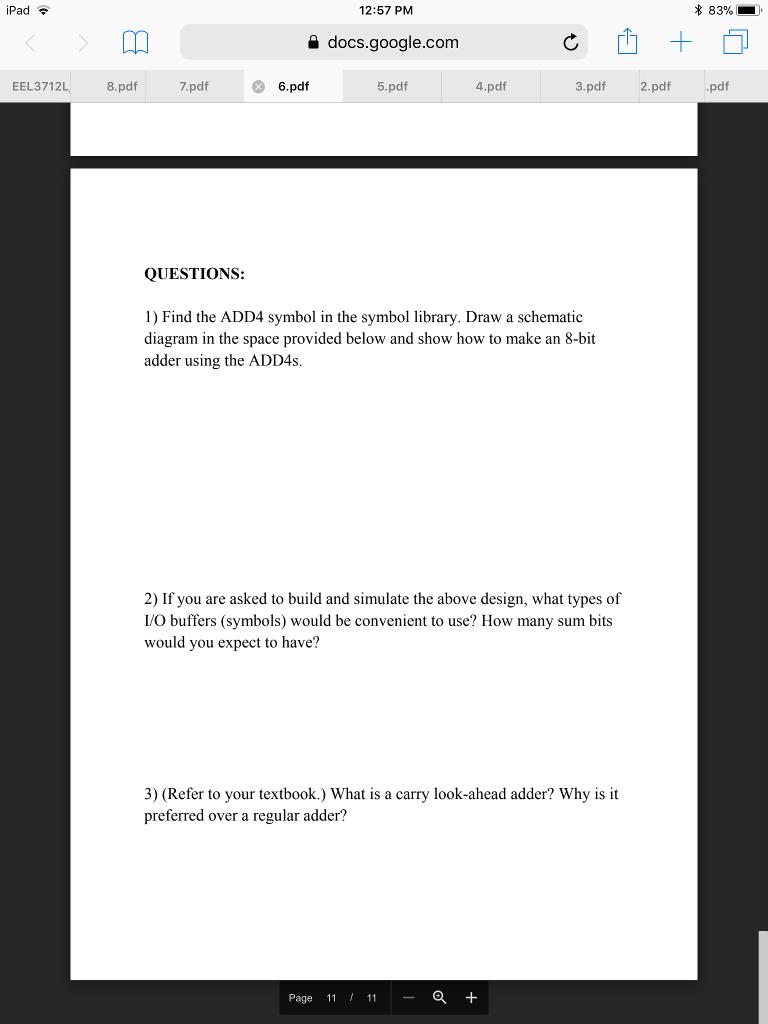 Solved Ipad 1257 Pm 83 A Docsgooglecom Eel3712l 8p 4 Circuit Diagram 8