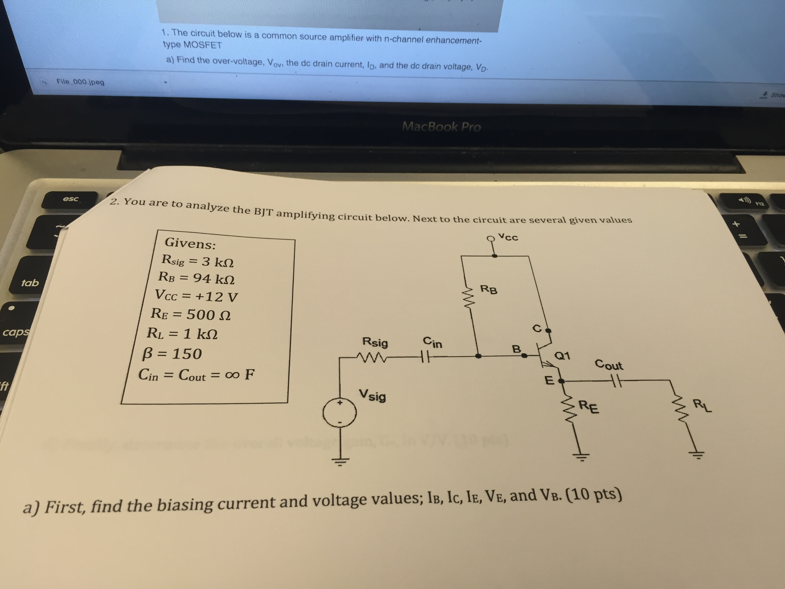 Solved 2 You Are To Analyze The Bjt Amplifying Circuit B Find Equivalent Resistance Rt Of Given Cheggcom