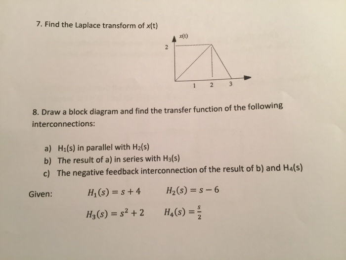 Solved Find The Laplace Transform Of Xt Draw A Block Di