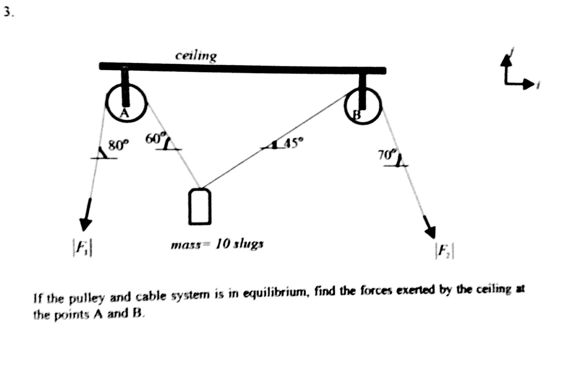 Pulleys Equilibrium : If the pulley and cable system is in equilibrium chegg