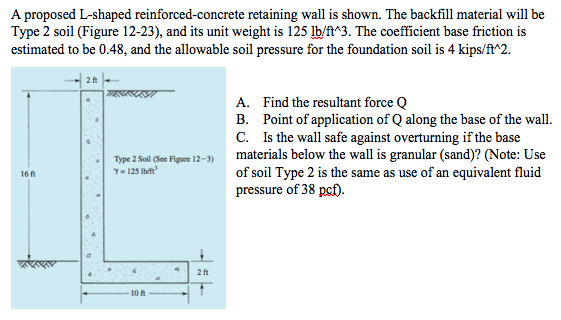 Solved: A Proposed L-shaped Reinforced Concrete Retaining