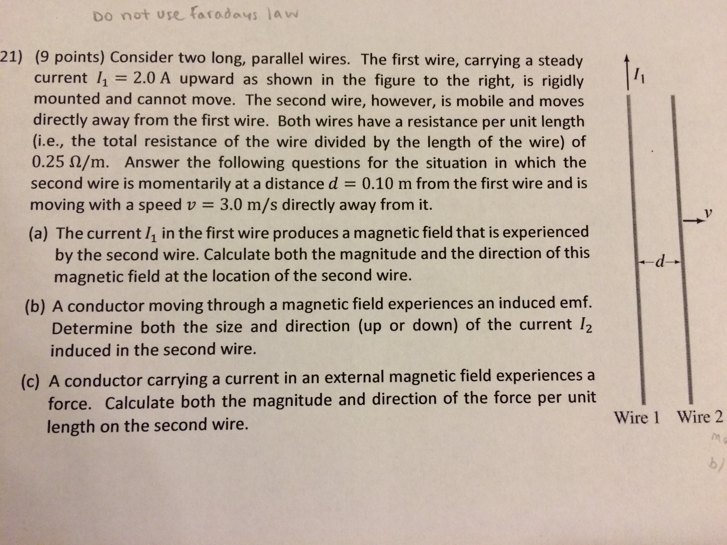 Solved: 21) (9 Points) Consider Two Long, Parallel Wires ...