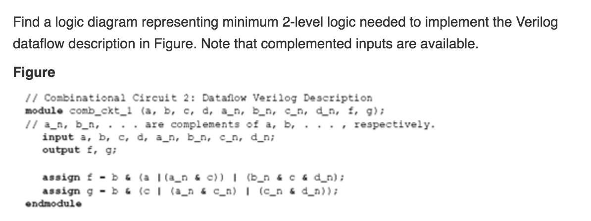 solved find a logic diagram representing minimum 2 level rh chegg com