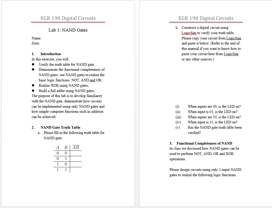 Solved Egr 190 Digital Circuits Input And Gate Truth Table Construct A Circuit Using Logicsim Please Copy