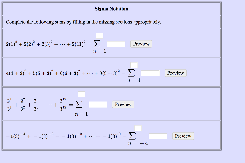 Solved Write The Sum Using Sigma Notation B Where 1