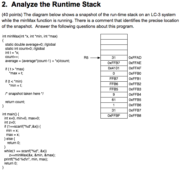 Solved 2 Analyze The Runtime Stack 40 Points The Diagr