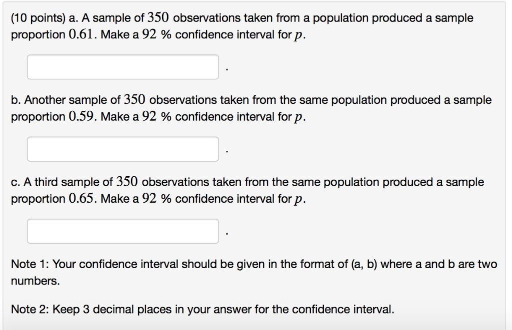 10 Points A Sample Of 350 Observations Taken From Population Produced