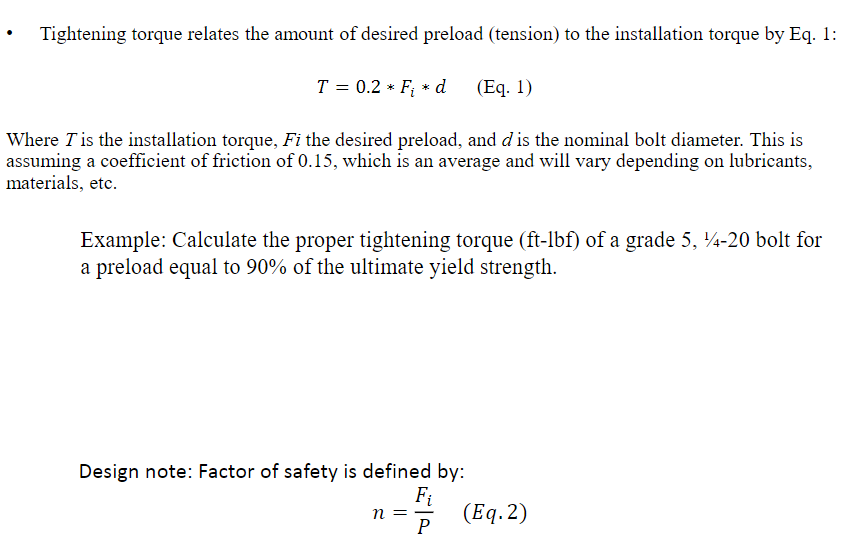 Solved: Calculate The Proper Tightening Torque (ft-lbf) Of