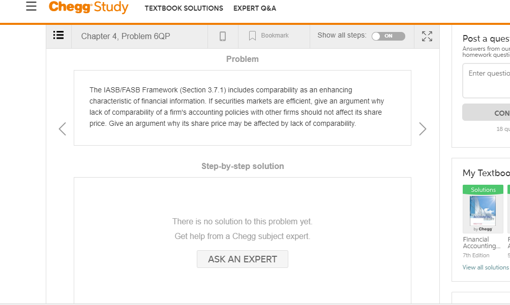 Solved: Ξ Chegg Study TEXTBOOK SOLUTIONS EXPERT Q&A Chapte