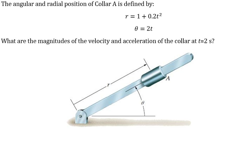 Solved the angular and radial position of collar a is def question the angular and radial position of collar a is defined by r 1 02t 2t what are the magnit ccuart Gallery