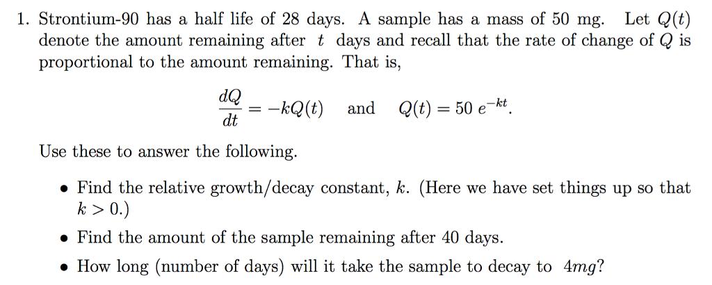 Strontium 90 Has A Half Life Of 28 Days Sample