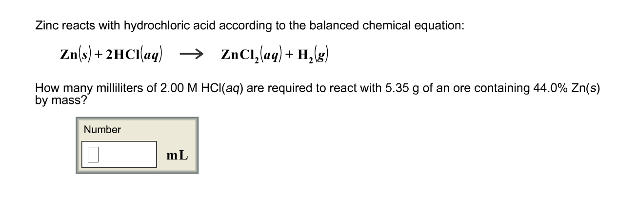 Solved Zinc Reacts With Hydrochloric Acid According To Th