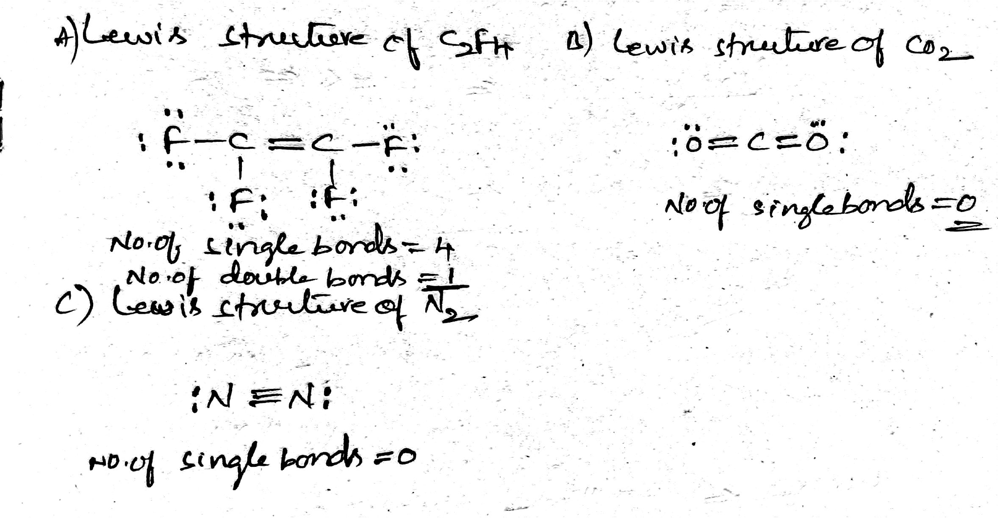 Solved A Draw The Lewis Structure Of C2f4 How Many Doub