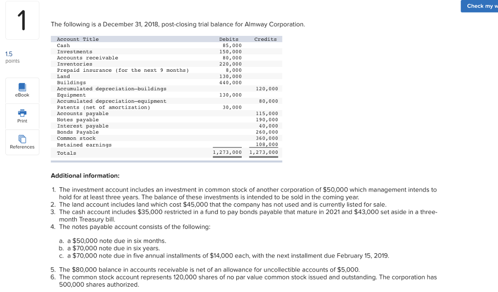 balance sheet title