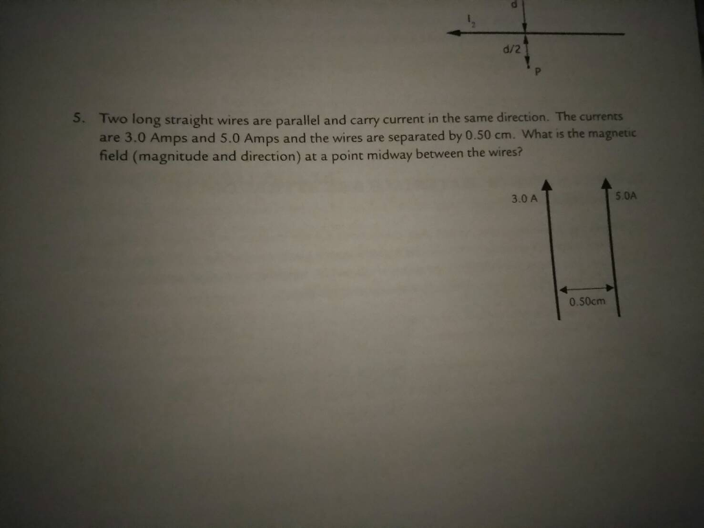 solved two long straight wires are parallel and carry cur rh chegg com