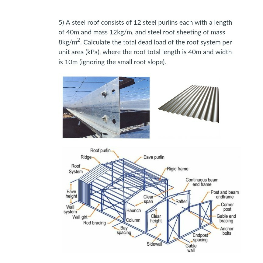 Solved: 5) A Steel Roof Consists Of 12 Steel Purlins Each