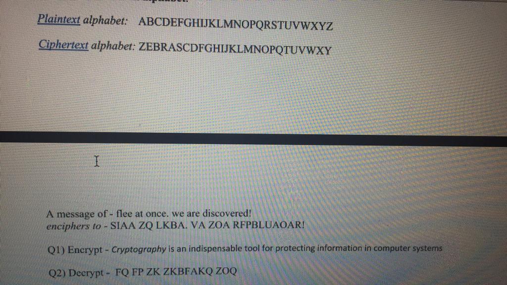 Plaintext alphabet MNOPO Ciphertext alphabet zEBRASCDFGHUKLMNOPOTUvwxY A