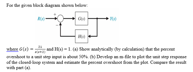 Solved  For The Given Block Diagram Shown Below  Where G