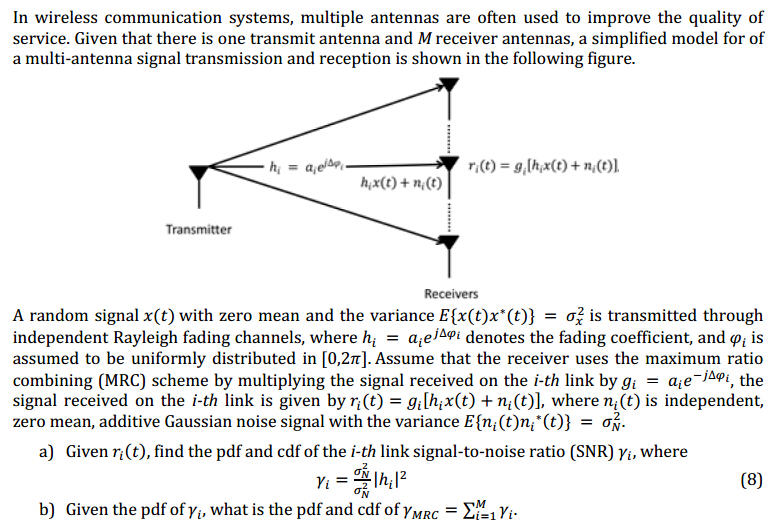 In Wireless Communication Systems, Multiple Antenn... | Chegg.com