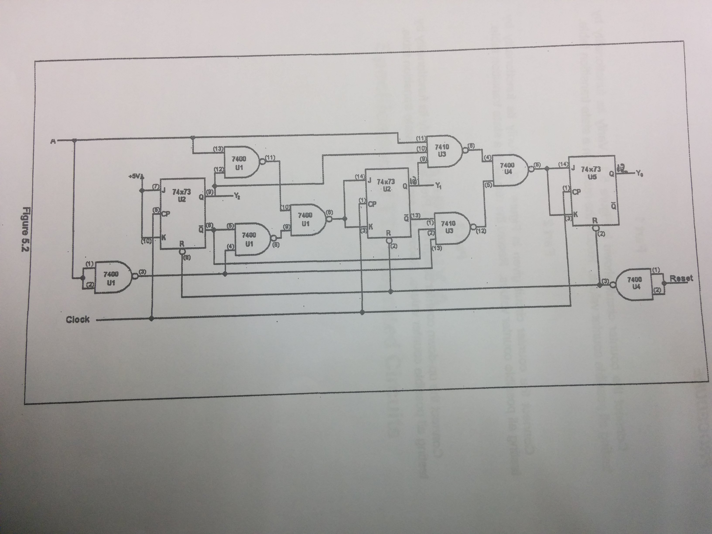 a) Analyze the sequential counter circuit in figure 5.1. Derive the state  transition table and diagram.