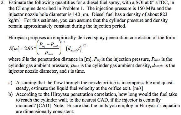 Nearest Diesel Fuel >> 2 Estimate The Following Quantities For A Diesel