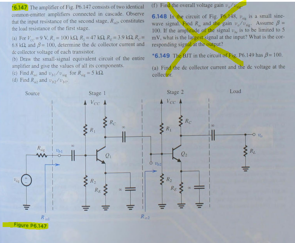 Solved The Amplifier Of Fig P6147 Consists Two Ident Gain Circuit Composed Ad7523 Amplifiercircuit Question Identical Common Emitter Amplifiers Connected In Cas