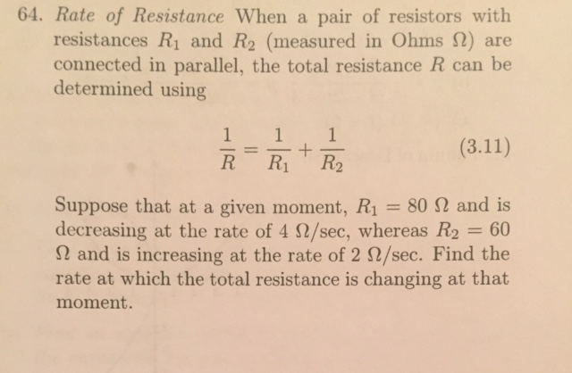 Calculus archive february 29 2016 chegg rate of resistance when a pair of resistors with r fandeluxe Images