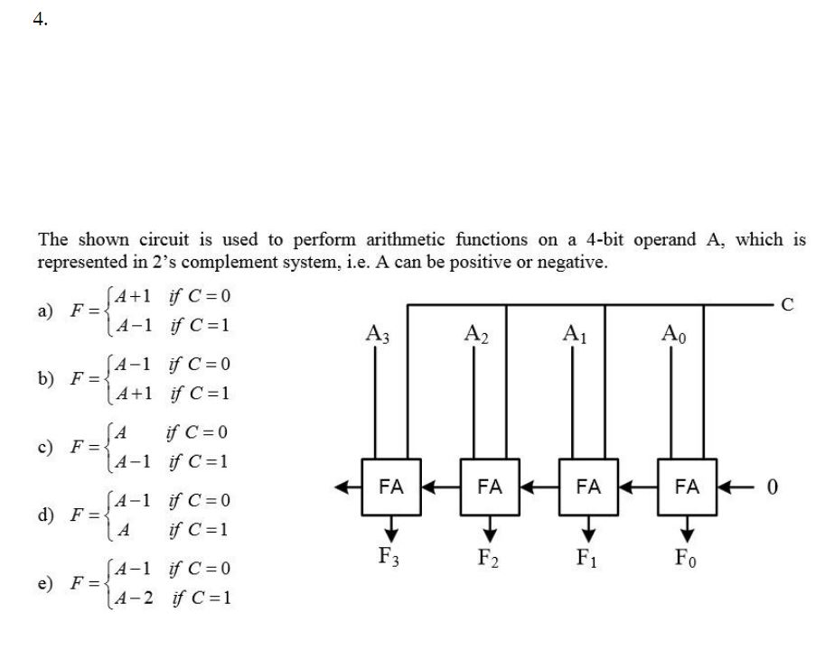 The shown circuit is used to perform arithmetic functions on a 4-bit operand A, which is represented in 2s complement system, i.e. A can be positive or negative. A+1 if C = 1 4-1 がC=1 (4-1 ifC=0 FA FA FA FA 0 -SA-l if C = 0 Fi
