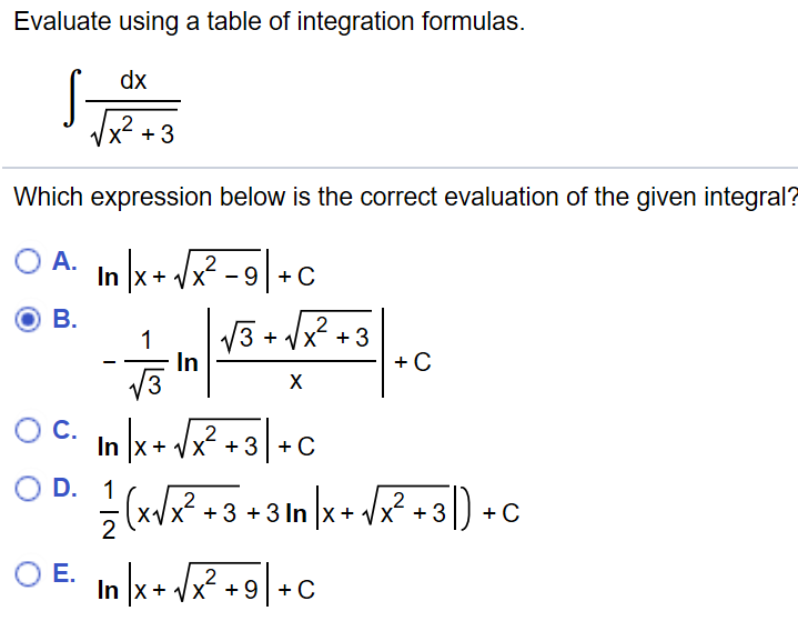 Solved: Evaluate Using A Table Of Integration Formulas. In
