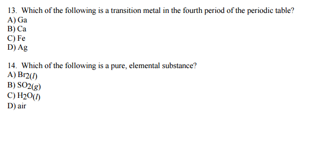 Solved Which Of The Following Is A Transition Metal In Th